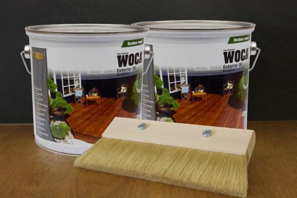 2 x Woca Exterior Öl Bangkirai, 3,0 Liter incl. Fußbodenstreichbürste 150mm