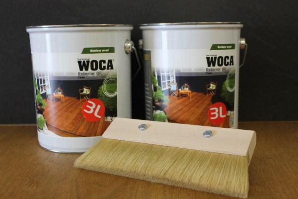 2 x Woca Exterior Öl Teak, 3,0 Liter incl. Fußbodenstreichbürste 150mm